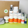 group shot of environ products with packing box in background