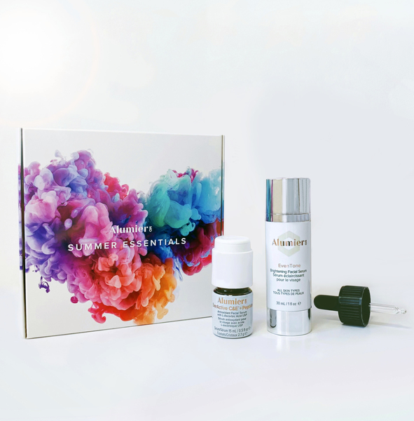 group shot of summer essentials kit from alumier